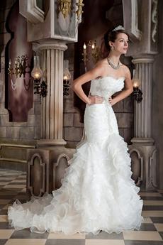 Gorgeous Sweetheart Full Length Trumpet/Mermaid Wedding Dress