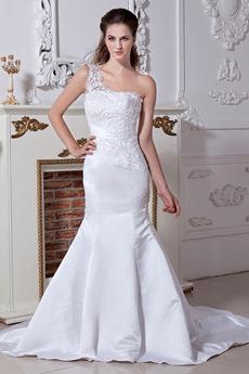 One Shoulder Lace Trumpet Bridal Gown