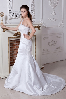 One Shoulder Lace Trumpet Bridal Gown