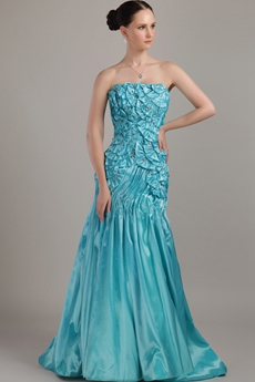 Butterfly Blue Satin Prom Dress Long Length