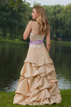 Puffy Floor Length Taffeta Champagne Quinceanera Dress With Lilac Sash