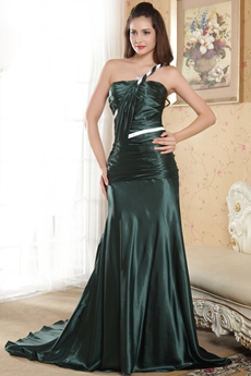One Shoulder A-line Full Length Dark Green Prom Dress