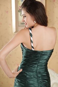 One Shoulder A-line Full Length Dark Green Prom Dress