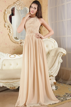 Halter Neckline Column Full Length Champagne Junior Prom Dress