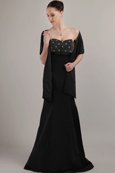 Beaded Bust A-line Black Satin Mother Of The Bride Dress