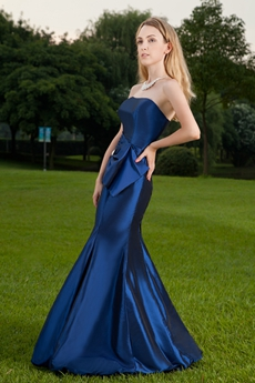 Modest Strapless Neckline Full Length Mermaid Prom Dress