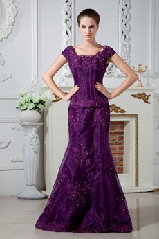 Scoop Neckline Cap Sleeves Purple Organza Mother Of The Bride Dress