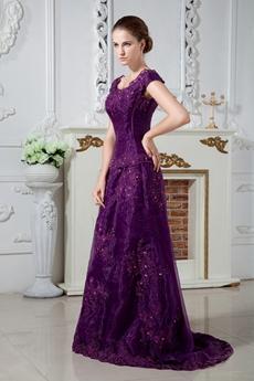Scoop Neckline Cap Sleeves Purple Organza Mother Of The Bride Dress