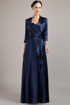 Modest Dark Navy Satin Long Sleeve Mother Of The Bride Dress