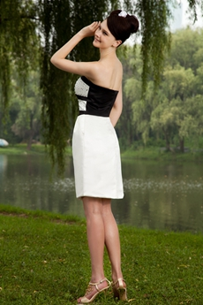 Knee Length White And Black Wedding Guest Dress