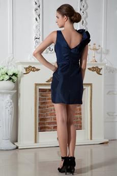 Modern V-Neckline Sheath Mini Length Dark Navy Cocktail Dress