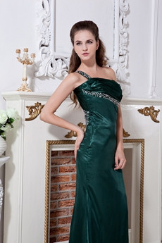 Backless One Shoulder Hunter Green Evening Dress