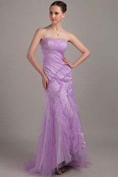 Desirable Mermaid Floor Length Lilac Tulle Prom Dress