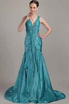 Plunge Neckline Full Length Mermaid Teal Prom Dress