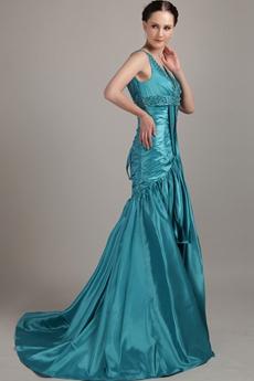 Plunge Neckline Full Length Mermaid Teal Prom Dress