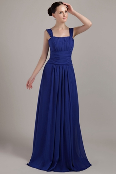 Straps A-line Long Royal Blue Chiffon Prom Gown