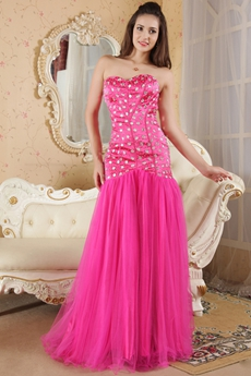 Cut Out Sweetheart A-line Full Length Hot Pink Prom Dress With Heavy Beads
