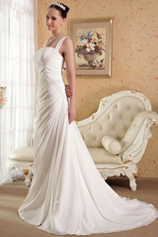 Affordable Straps A-line Chiffon Wedding Dress With Beads