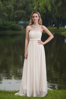 Beaded Strapless Column Full Length Ivory Beach Wedding Dress