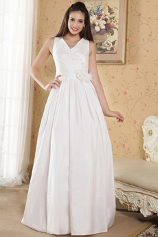 V-Neckline Column Full Length Beach Wedding Dress