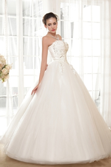 Ball Gown Floor Length Wedding Dress Corset Back