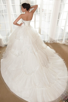 Dipped Neckline Puffy Floor Length Plus Size Wedding Dress