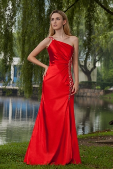 Straight One Shoulder Full Length Red Evening Dress Side Slit