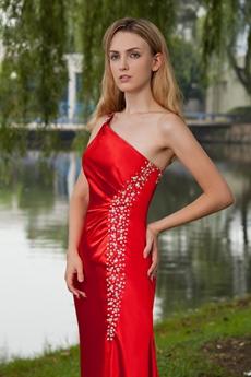 Straight One Shoulder Full Length Red Evening Dress Side Slit