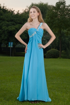 Cut Out One Shoulder A-line Blue Long Evening Dress