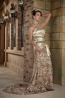 Modern Sweetheart Leopard Evening Dress Side Slit