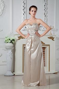Hot Crossed Straps Back Column Full Length Champagne Evening Dress