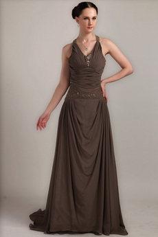 Mature V-Neckline A-line Brown Chiffon Prom Dress