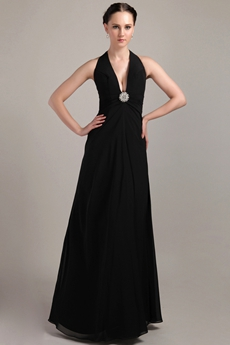Sexy Plunge Halter Black Formal Evening Gown