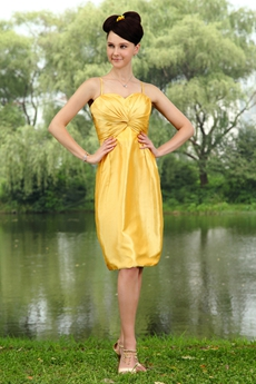 Gold Taffeta Knee Length Column Prom Dress