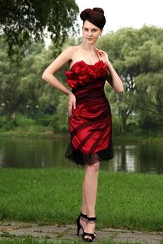 Knee Length Black And Red Graduation Dress
