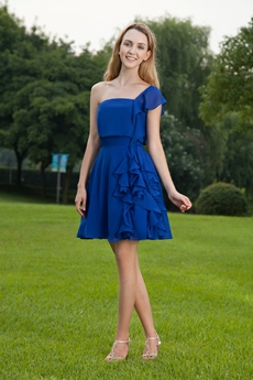 One Straps A-line Mini Length Royal Blue Prom Dress