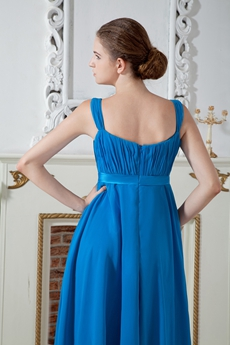 Knee Length Turquoise Chiffon Prom Dress