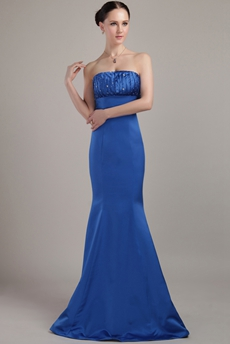 Charming Royal Blue Satin Mermaid Prom Gown
