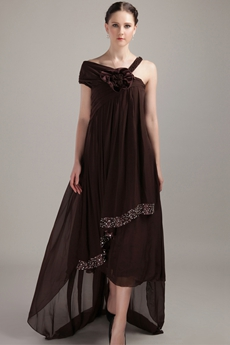 Empire Tea Length Brown Chiffon Prom Dress Asymmetrical Straps