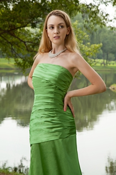 Modest Strapless Floor Length Green Prom Dress
