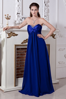 Modest Sweetheart Empire Full Length Royal Blue Chiffon PROM Dress