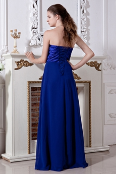 Modest Sweetheart Empire Full Length Royal Blue Chiffon PROM Dress
