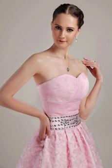Cute Sweetheart Puffy Pink Short Length Sweet XVI Dress