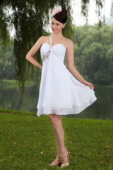 Empire Mini Length One Shoulder White Chiffon Cocktail Dress