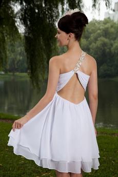 Empire Mini Length One Shoulder White Chiffon Cocktail Dress