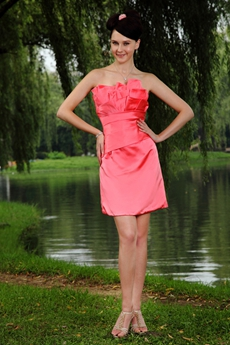 A-line Mini Length Watermelon Damas Dress