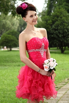 Folded Sweetheart Organza Watermelon Sweet 16 Dress