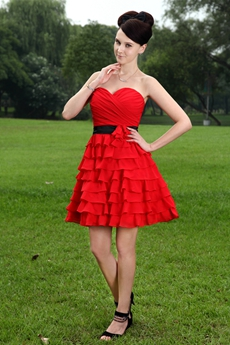 Red Chiffon Puffy Mini Length Damas Dress With Multi Tiered