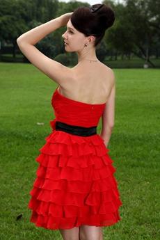 Red Chiffon Puffy Mini Length Damas Dress With Multi Tiered