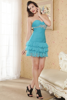 Cute Sweetheart Mini Length Blue Prom Dress
